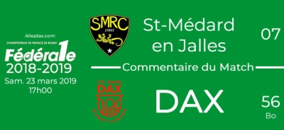 FED1 - 2018/2019 - J20 : ST-MEDARD-EN-JALLES - DAX : Commentaire du match